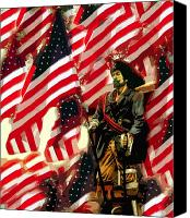 American Flags Canvas Prints - American pirate Canvas Print by David Lee Thompson