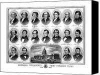 American Drawings Canvas Prints - American Presidents First Hundred Years Canvas Print by War Is Hell Store