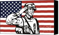 Retro Style Canvas Prints - American soldier saluting flag Canvas Print by Aloysius Patrimonio