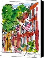 Philadelphia Scene Drawings Canvas Prints - American Street Philadelphia Canvas Print by Marilyn MacGregor