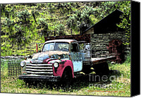 Montana Digital Art Canvas Prints - American Vintage Truck Many A Mile Canvas Print by Glenna McRae