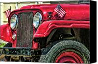 Fourth Of July Photo Canvas Prints - American Willys Canvas Print by Adam Vance