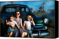 1960 Canvas Prints - Americana - Car - The classic American vacation Canvas Print by Mike Savad