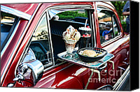 Roller Skates Canvas Prints - Americana - The Car Hop Canvas Print by Paul Ward