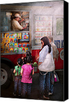 Families Canvas Prints - Americana - Vendor - Serving chocolate ice cream Canvas Print by Mike Savad