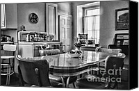 Family Room Canvas Prints - Americana - 1950 Kitchen - 1950s - retro kitchen Black and White Canvas Print by Paul Ward