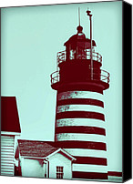 Turquoise And Rust Canvas Prints - Americana Lighthouse Canvas Print by Tony Grider