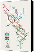 North Canvas Prints - Americas Metro Map Canvas Print by Michael Tompsett