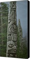Ethnic Reliefs Canvas Prints - Amid The Mist - Totems Canvas Print by Elaine Booth-Kallweit