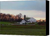 Amish Canvas Prints - Amish Farm at Dusk Canvas Print by Gordon Beck