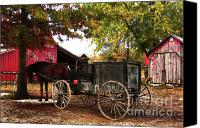 Amish Community Digital Art Canvas Prints - Amish Farm Wagon Canvas Print by Terril Heilman
