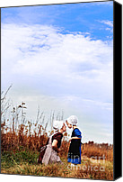 Young Woman Blue Canvas Prints - Amish Mother and Child Canvas Print by Stephanie Frey