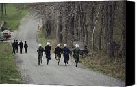 Dirt Roads Photo Canvas Prints - Amish People Visiting Middle Creek Canvas Print by Ira Block