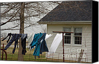 Amish Canvas Prints - Amish Washday - Allen County Indiana Canvas Print by Suzanne Gaff