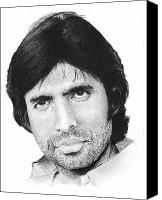 Charcoal Drawings Canvas Prints - Amitabh Bachchan Canvas Print by Abhijit Tagade