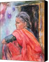 Sari Canvas Prints - Amma Canvas Print by Kate Bedell