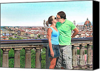 Hyperrealism Canvas Prints - Amore destate Firenze  Canvas Print by Karen Hull
