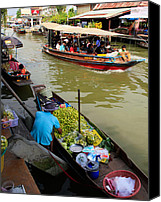 Thai Canvas Prints - Ampawa Floating Market Canvas Print by Adrian Evans