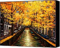Yellow Trees Canvas Prints - Amsterdam Autumn Canvas Print by Johnathan Harris