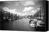 City Streets Canvas Prints - Amsterdam BW Canvas Print by Kamil Swiatek