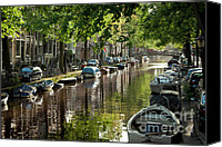 Unique Cars Canvas Prints - Amsterdam Canal Canvas Print by Joan Carroll