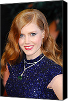 Wavy Hair Canvas Prints - Amy Adams Wearing A Cartier Necklace Canvas Print by Everett