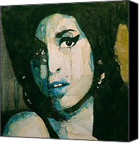 Singer Songwriter Painting Canvas Prints - Amy Canvas Print by Paul Lovering