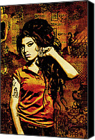 Portrait Mixed Media Canvas Prints - Amy Winehouse 24x36 MM Reg Canvas Print by Dancin Artworks