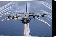 Outdoors Canvas Prints - An Ac-130h Gunship Aircraft Jettisons Canvas Print by Stocktrek Images