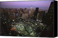 Disasters Canvas Prints - An Aerial View Of Ground Zero Canvas Print by Ira Block