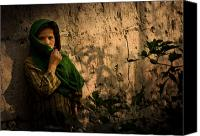 Building Materials Canvas Prints - An Afghan Girl Covers Her Face Canvas Print by Stocktrek Images