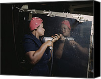 African Americans Canvas Prints - An African American Rosy The Riveter Canvas Print by Everett