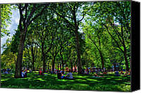 Washington Square Canvas Prints - An Afternoon in Washington Square Park Canvas Print by Randy Aveille