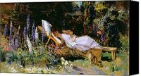 Garden Flowers Canvas Prints - An Afternoon Nap Canvas Print by Harry Mitten Wilson