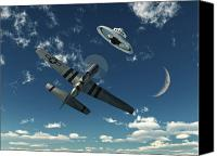 Crescent Moon Canvas Prints - An American P-51 Mustang Gives Chase Canvas Print by Mark Stevenson