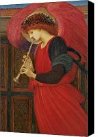 Herald Canvas Prints - An Angel Playing a Flageolet Canvas Print by Sir Edward Burne-Jones