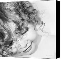 Curls Canvas Prints - An Angels Smile - Black and White Canvas Print by Kerri Ligatich