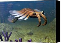 Natural History Canvas Prints - An Anomalocaris Explores A Middle Canvas Print by Walter Myers