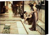 Alma-tadema; Sir Lawrence (1836-1912) Canvas Prints - An Apodyterium Canvas Print by Sir Lawrence Alma-Tadema