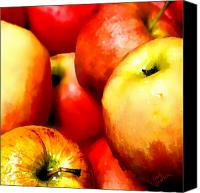 Food Tapestries Textiles Canvas Prints - An Apple a Day Canvas Print by Barb Pearson