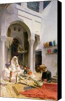 Middle East Canvas Prints - An Arab Weaver Canvas Print by Armand Point