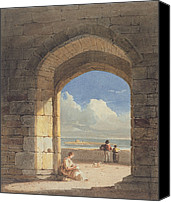 1842 Canvas Prints - An Arch at Holy Island - Northumberland Canvas Print by John Varley