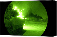 Second Gulf War Canvas Prints - An Army Bradley Fighting Vehicle Opens Canvas Print by Everett