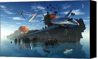 Judgment Day Canvas Prints - An Asteroid Rips Apart The Earths Crust Canvas Print by Mark Stevenson