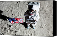 Gray Suit Canvas Prints - An Astronaut On The Surface Of The Moon Next To An American Flag Canvas Print by Caspar Benson