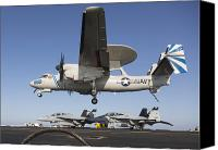 Awacs Canvas Prints - An E-2c Hawkeye Makes An Arrested Canvas Print by Gert Kromhout