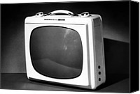 Tv Set Canvas Prints - An Early Portable Television Set Canvas Print by Everett