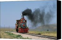Rail Vehicles Canvas Prints - An Engineer Leans Out Of The Cab Canvas Print by James P. Blair