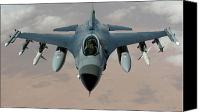 Operation Iraqi Freedom Canvas Prints - An F-16 Fighting Falcon Flies A Mission Canvas Print by Stocktrek Images