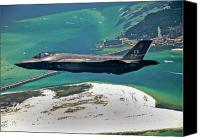 Jet Canvas Prints - An F-35 Lightning Ii Flies Over Destin Canvas Print by Stocktrek Images